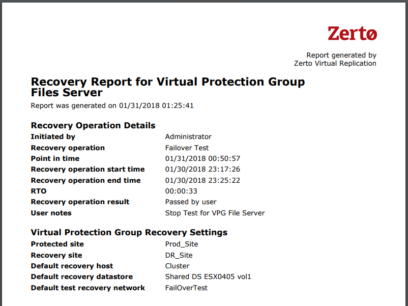Recovery Report - Successful FOT