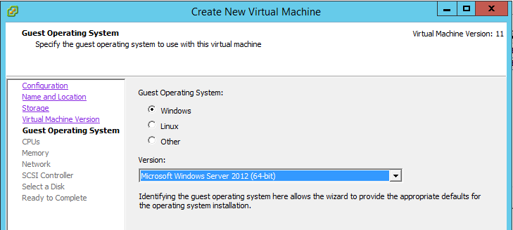 Create VM - OS Version
