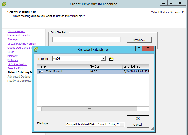 Create VM - Select existing disk file