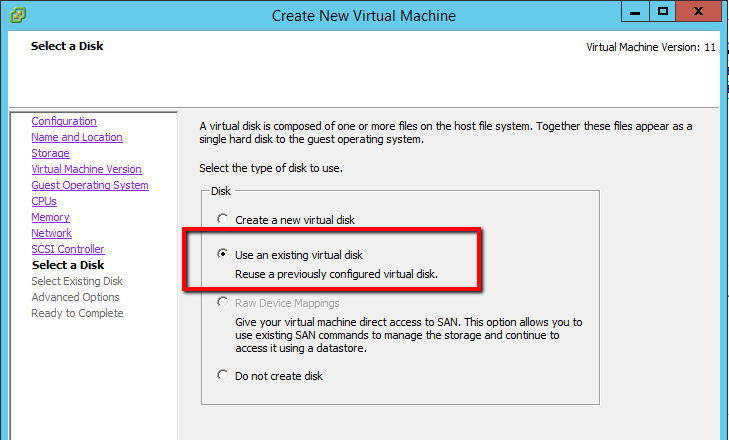 Create VM - Select Existing Disk